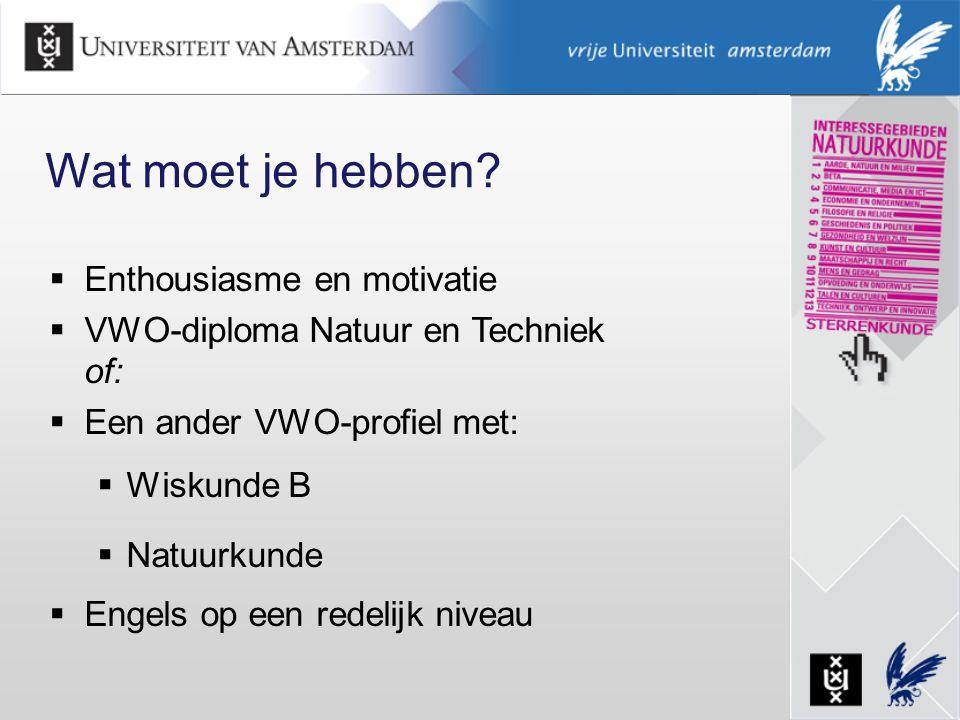 Wat moet je hebben?  Enthousiasme en motivatie  VWO-diploma Natuur en Techniek of:  Een ander VWO-profiel met:  Wiskunde B  Natuurkunde  Engels