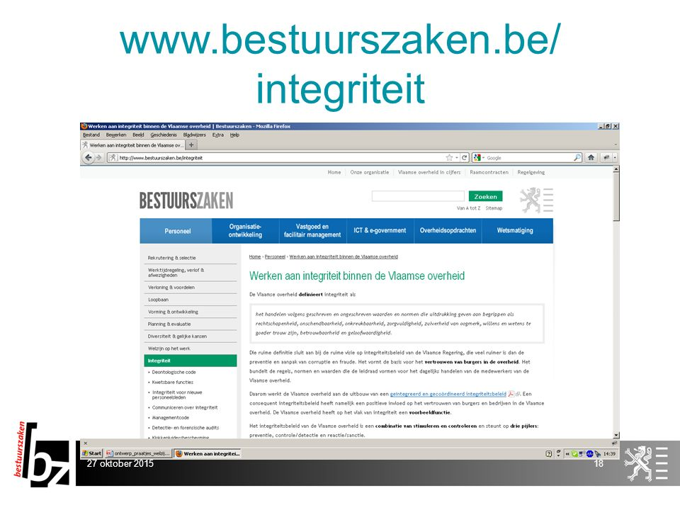 www.bestuurszaken.be/ integriteit 27 oktober 201518