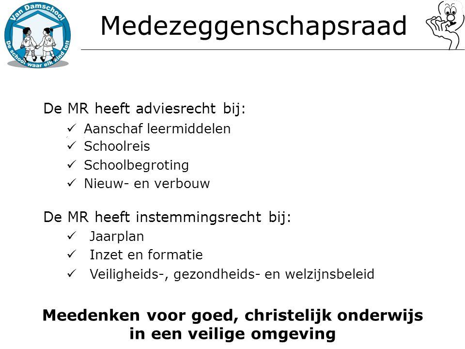 Medezeggenschapsraad De MR heeft adviesrecht bij: Aanschaf leermiddelen, Schoolreis Schoolbegroting Nieuw- en verbouw De MR heeft instemmingsrecht bij