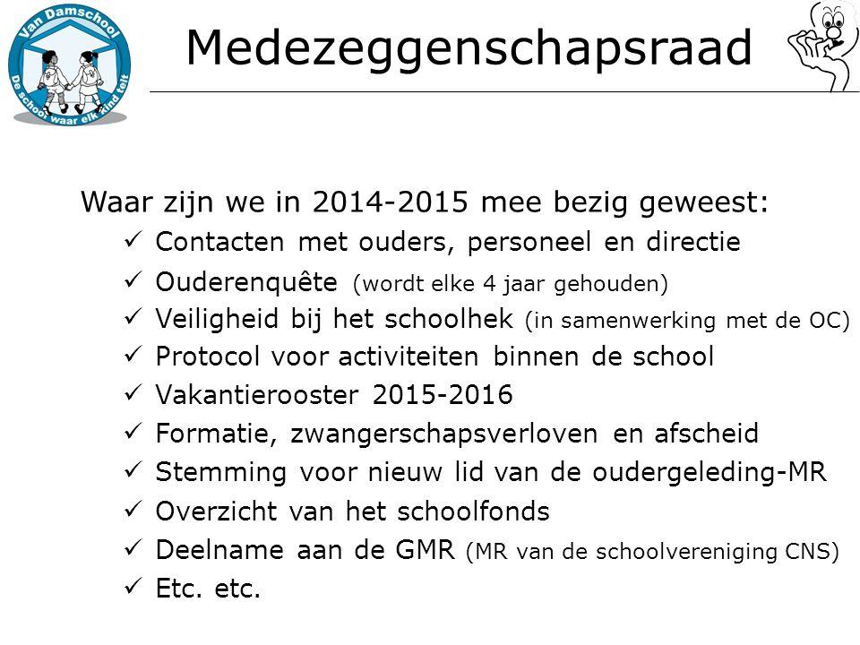 Medezeggenschapsraad Waar zijn we in 2014-2015 mee bezig geweest: Contacten met ouders, personeel en directie Ouderenquête (wordt elke 4 jaar gehouden