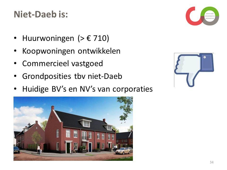 Niet-Daeb is: Huurwoningen (> € 710) Koopwoningen ontwikkelen Commercieel vastgoed Grondposities tbv niet-Daeb Huidige BV's en NV's van corporaties 34