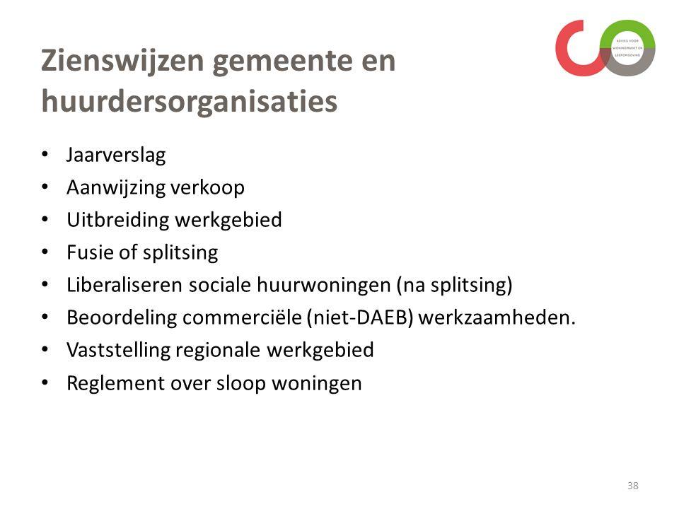Zienswijzen gemeente en huurdersorganisaties Jaarverslag Aanwijzing verkoop Uitbreiding werkgebied Fusie of splitsing Liberaliseren sociale huurwoningen (na splitsing) Beoordeling commerciële (niet-DAEB) werkzaamheden.
