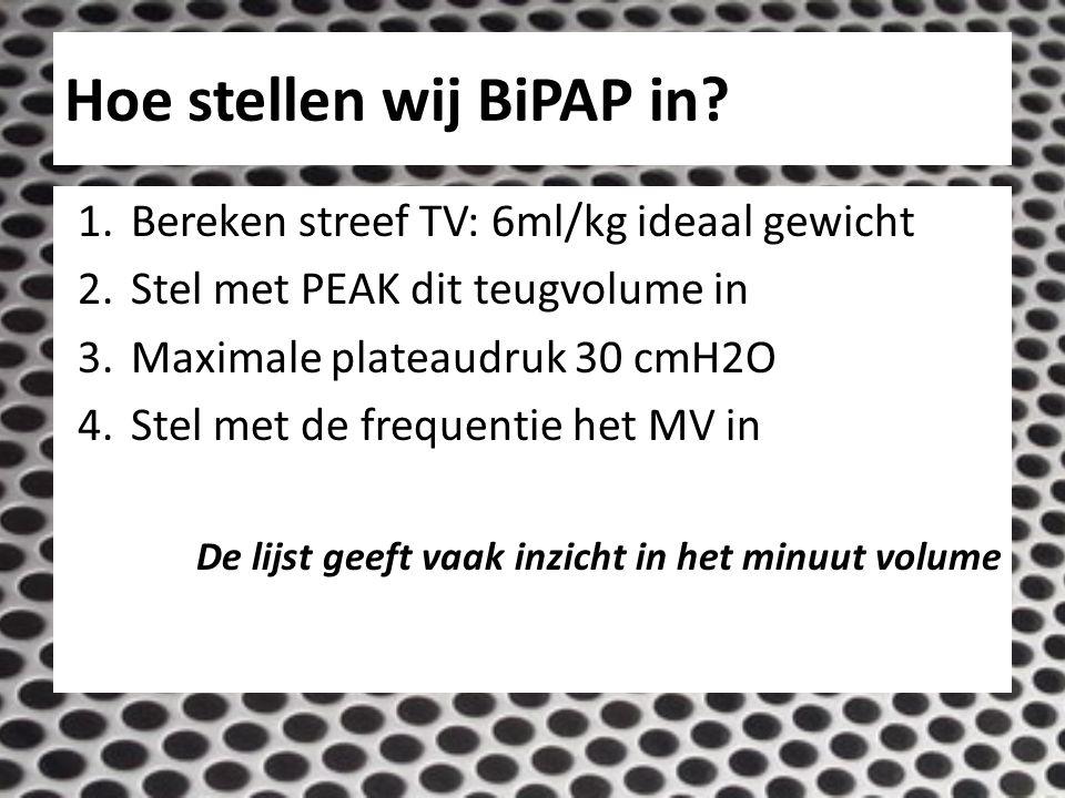 Hoe stellen wij BiPAP in? 1.Bereken streef TV: 6ml/kg ideaal gewicht 2.Stel met PEAK dit teugvolume in 3.Maximale plateaudruk 30 cmH2O 4.Stel met de f