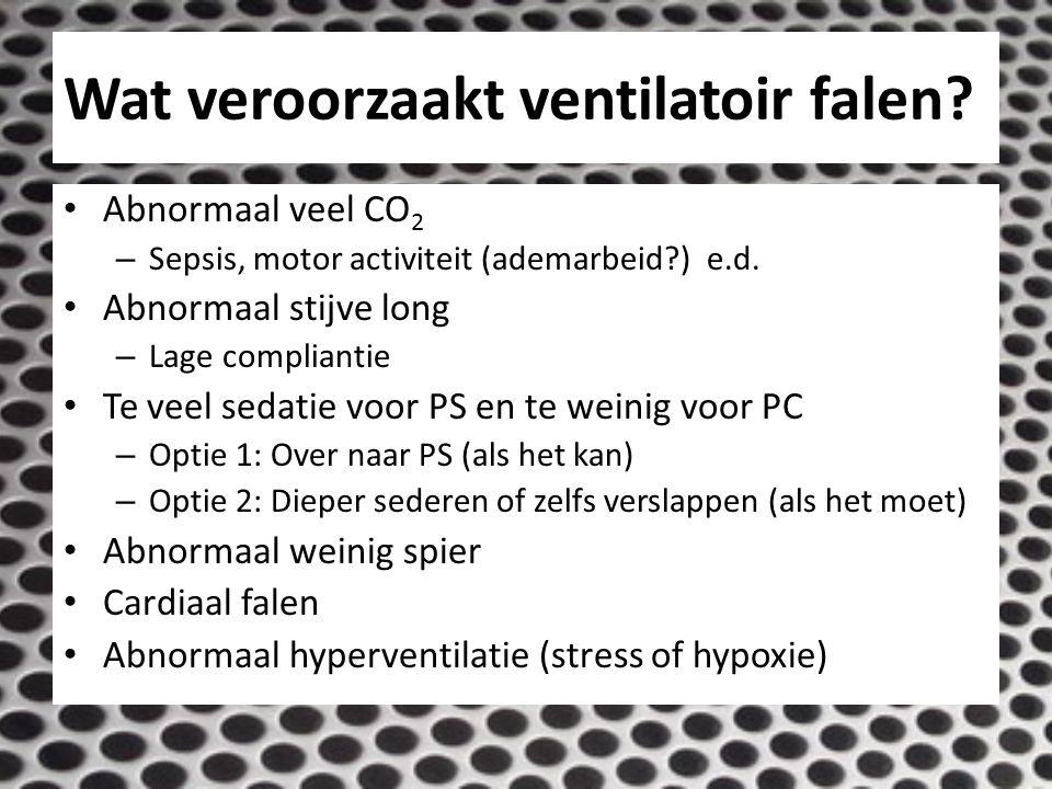 Wat veroorzaakt ventilatoir falen? Abnormaal veel CO 2 – Sepsis, motor activiteit (ademarbeid?) e.d. Abnormaal stijve long – Lage compliantie Te veel