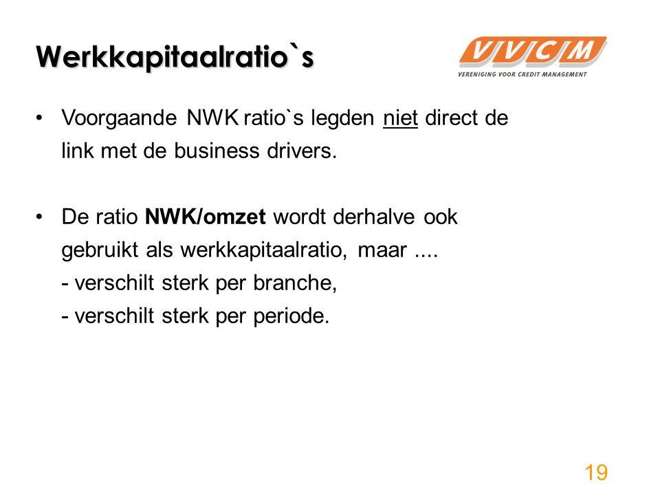 Werkkapitaalratio`s 19 Voorgaande NWK ratio`s legden niet direct de link met de business drivers.