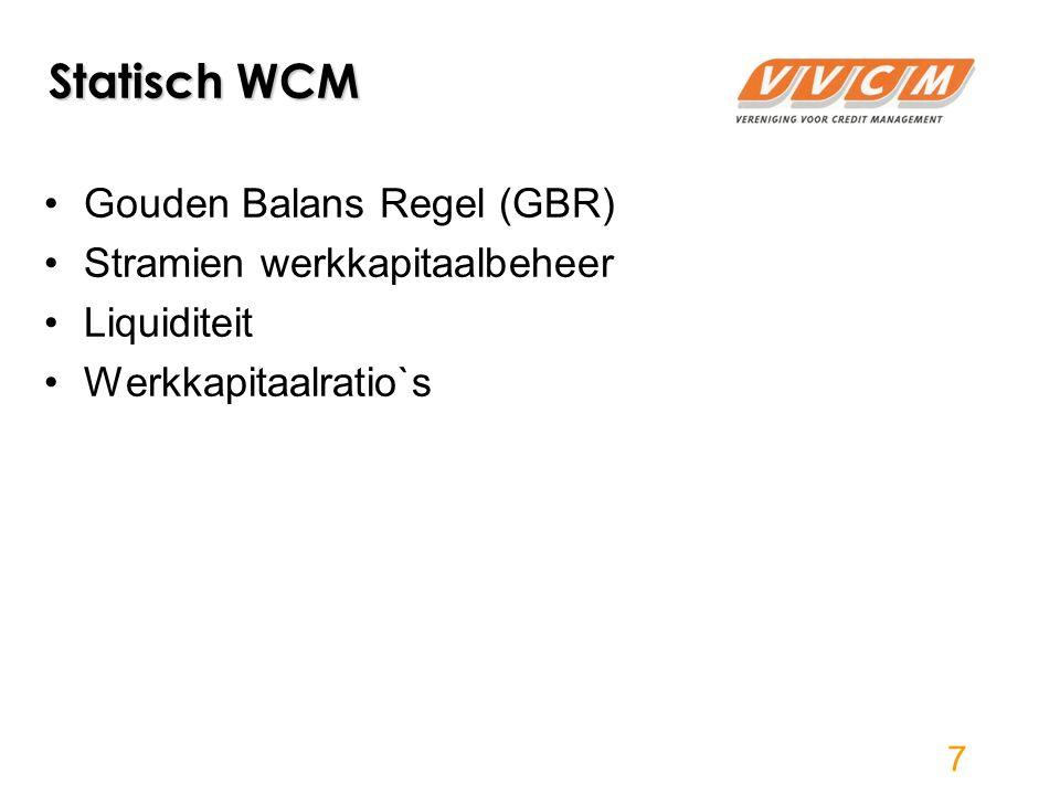 Statisch WCM Gouden Balans Regel (GBR) Stramien werkkapitaalbeheer Liquiditeit Werkkapitaalratio`s 7