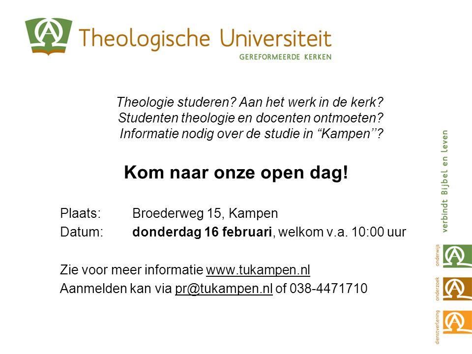 """Theologie studeren? Aan het werk in de kerk? Studenten theologie en docenten ontmoeten? Informatie nodig over de studie in """"Kampen''? Kom naar onze op"""