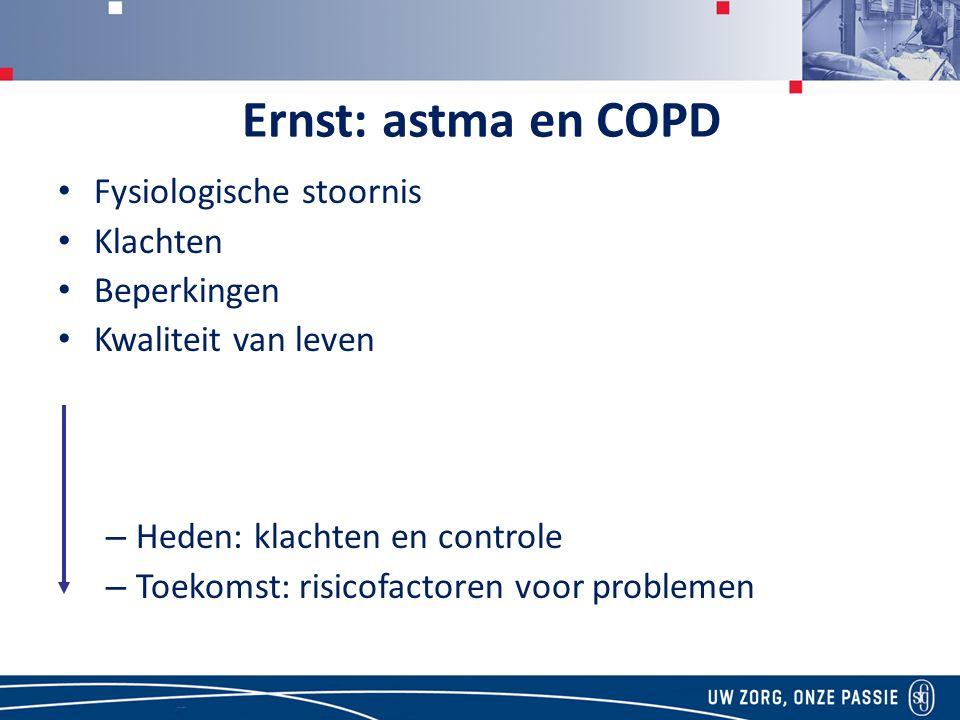 Ernst: astma en COPD Fysiologische stoornis Klachten Beperkingen Kwaliteit van leven – Heden: klachten en controle – Toekomst: risicofactoren voor problemen