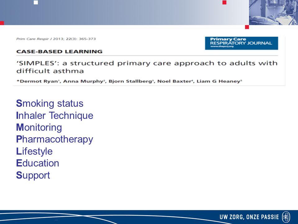klachten beperkingen Smoking status Inhaler Technique Monitoring Pharmacotherapy Lifestyle Education Support