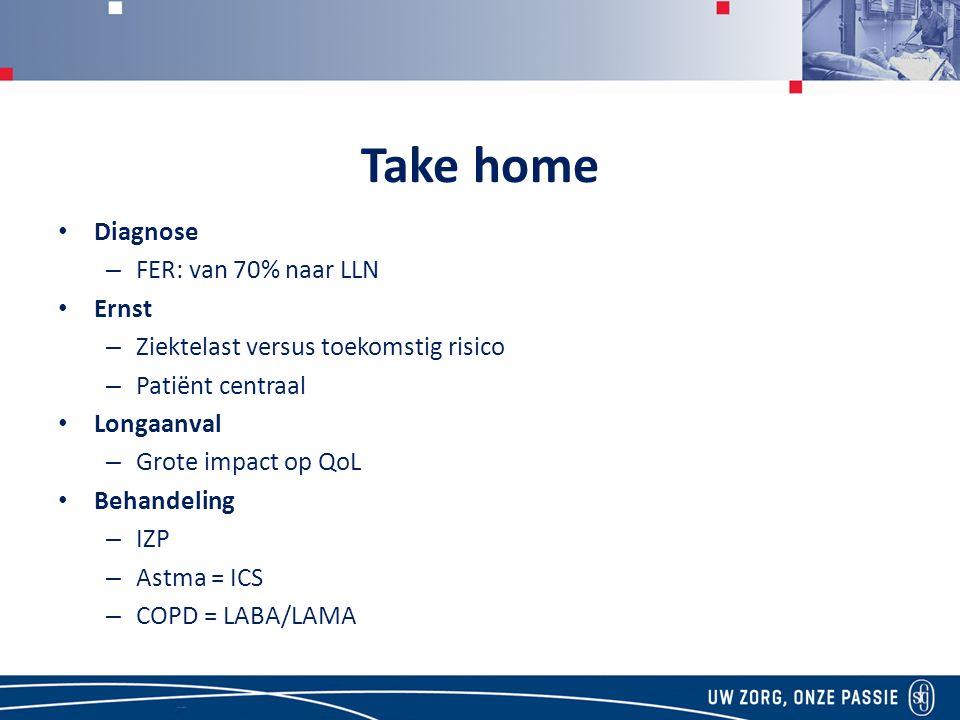 Take home Diagnose – FER: van 70% naar LLN Ernst – Ziektelast versus toekomstig risico – Patiënt centraal Longaanval – Grote impact op QoL Behandeling – IZP – Astma = ICS – COPD = LABA/LAMA