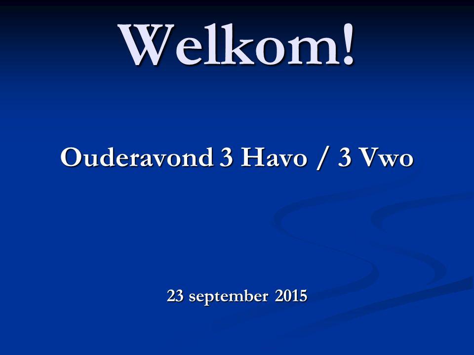 Welkom! Ouderavond 3 Havo / 3 Vwo 23 september 2015