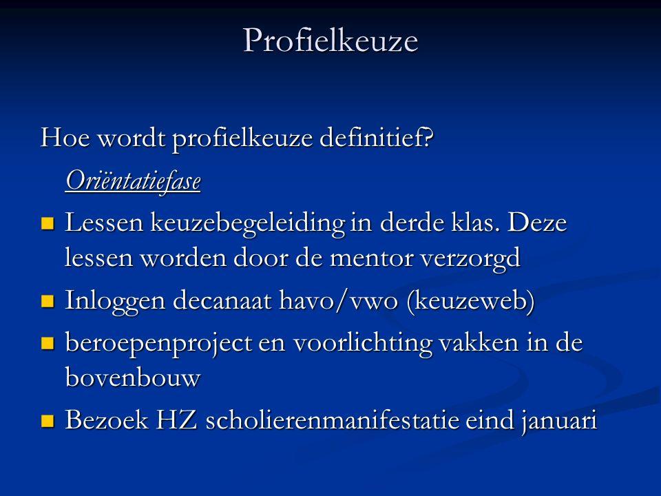 Profielkeuze Hoe wordt profielkeuze definitief.