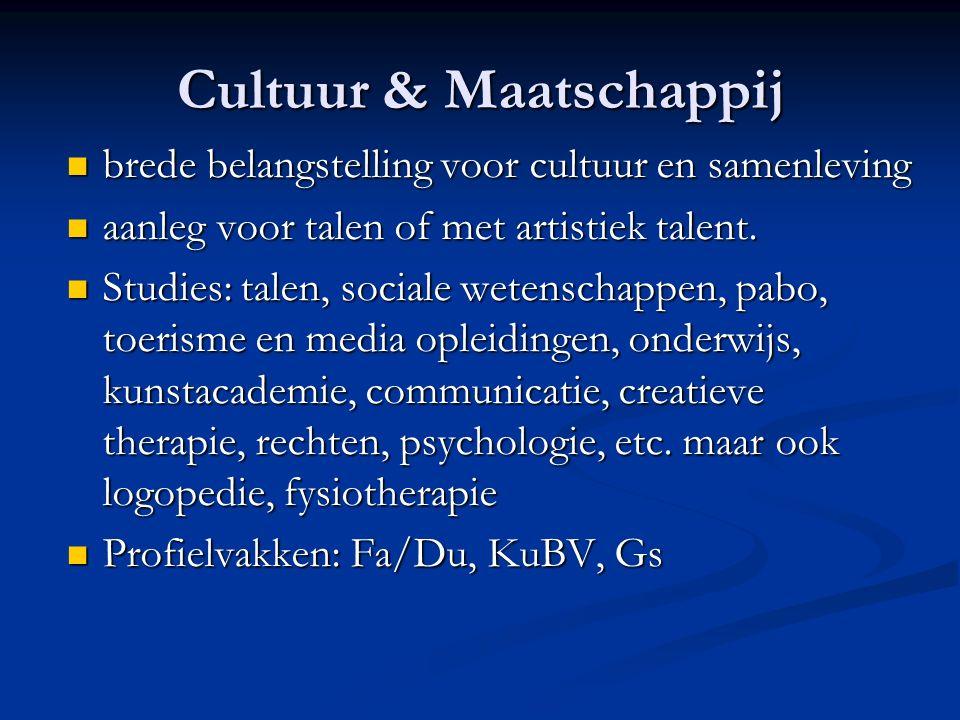Cultuur & Maatschappij brede belangstelling voor cultuur en samenleving brede belangstelling voor cultuur en samenleving aanleg voor talen of met artistiek talent.