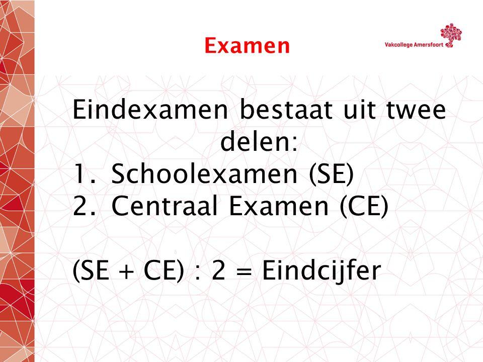 Examen Eindexamen bestaat uit twee delen: 1.Schoolexamen (SE) 2.Centraal Examen (CE) (SE + CE) : 2 = Eindcijfer