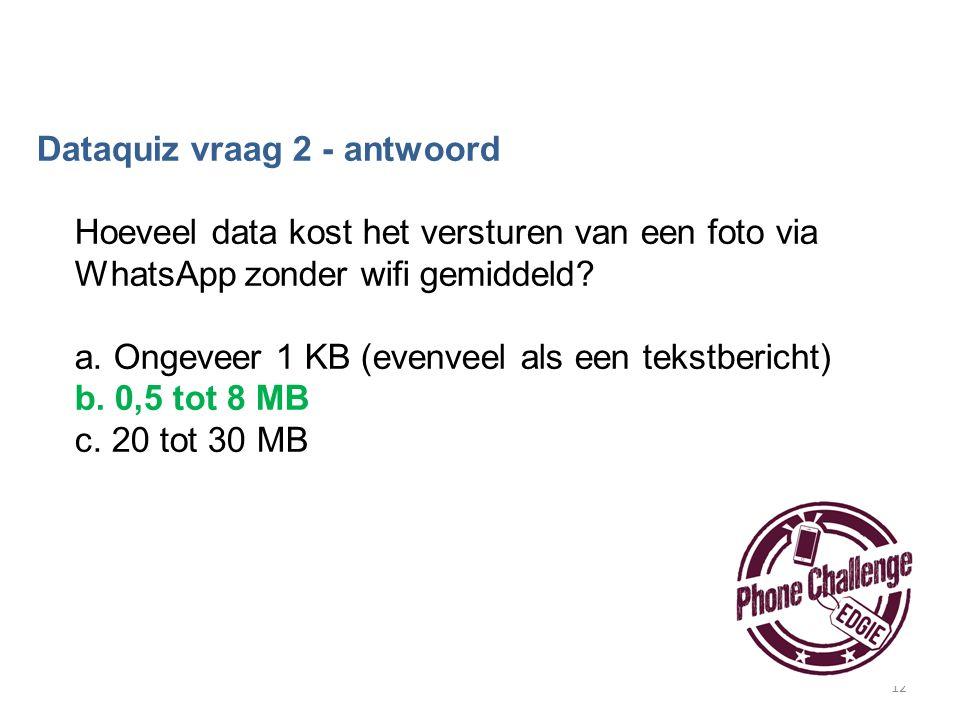 12 Dataquiz vraag 2 - antwoord Hoeveel data kost het versturen van een foto via WhatsApp zonder wifi gemiddeld? a. Ongeveer 1 KB (evenveel als een tek