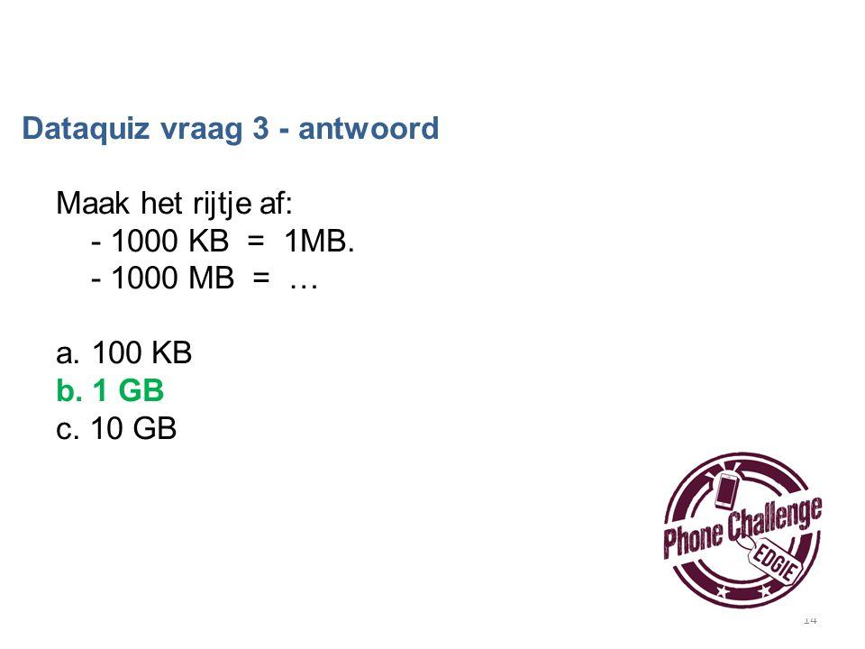 14 Dataquiz vraag 3 - antwoord Maak het rijtje af: - 1000 KB = 1MB. - 1000 MB = … a. 100 KB b. 1 GB c. 10 GB
