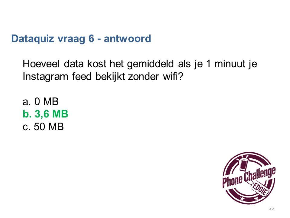 20 Dataquiz vraag 6 - antwoord Hoeveel data kost het gemiddeld als je 1 minuut je Instagram feed bekijkt zonder wifi? a. 0 MB b. 3,6 MB c. 50 MB