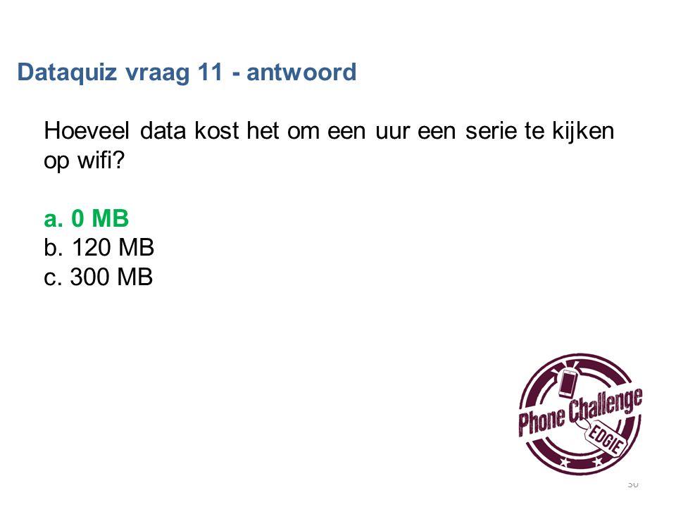 30 Dataquiz vraag 11 - antwoord Hoeveel data kost het om een uur een serie te kijken op wifi? a. 0 MB b. 120 MB c. 300 MB