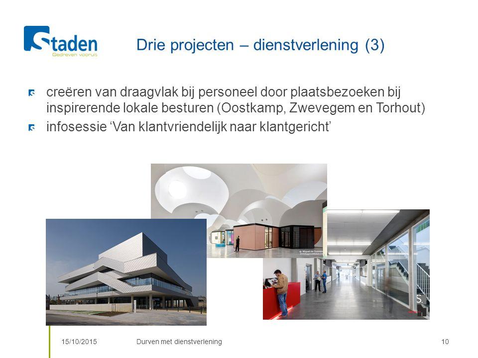 Drie projecten – dienstverlening (3) 15/10/2015Durven met dienstverlening10 creëren van draagvlak bij personeel door plaatsbezoeken bij inspirerende lokale besturen (Oostkamp, Zwevegem en Torhout) infosessie 'Van klantvriendelijk naar klantgericht'