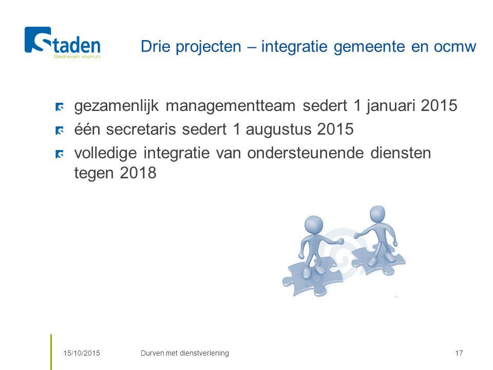 Drie projecten – integratie gemeente en ocmw gezamenlijk managementteam sedert 1 januari 2015 één secretaris sedert 1 augustus 2015 volledige integratie van ondersteunende diensten tegen 2018 15/10/2015Durven met dienstverlening17