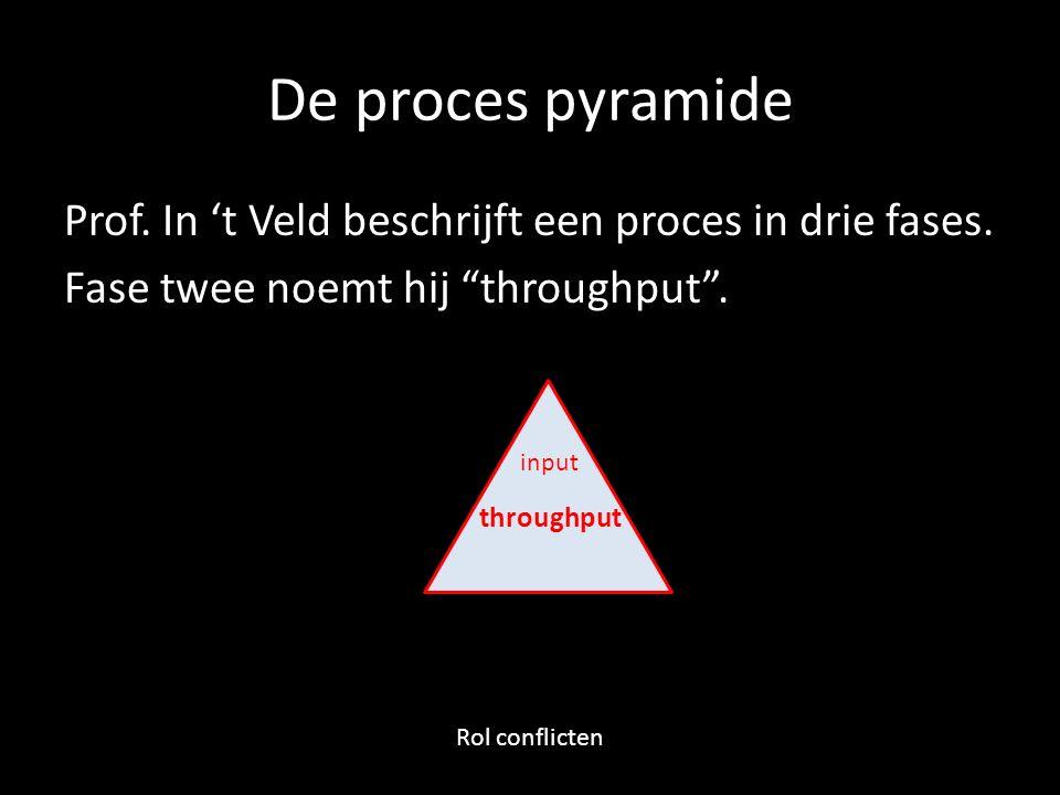 """De proces pyramide Prof. In 't Veld beschrijft een proces in drie fases. Fase twee noemt hij """"throughput"""". input throughput Rol conflicten"""