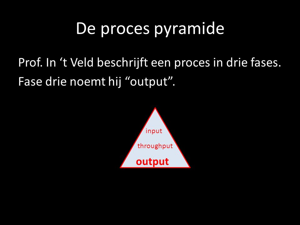 "De proces pyramide Prof. In 't Veld beschrijft een proces in drie fases. Fase drie noemt hij ""output"". input throughput output"