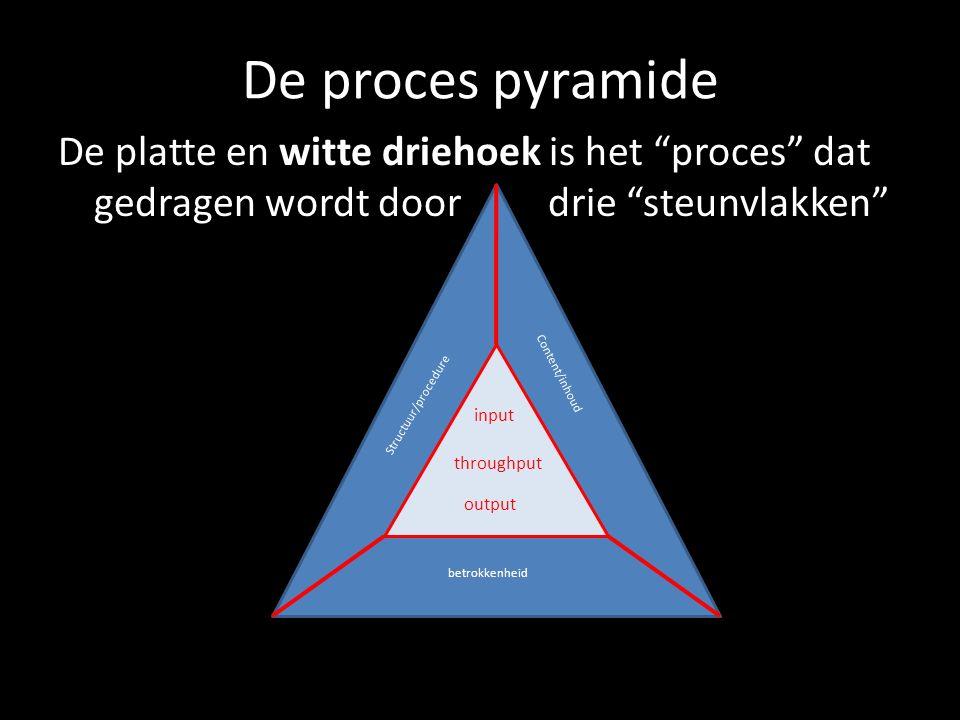 """De proces pyramide De platte en witte driehoek is het """"proces"""" dat gedragen wordt door drie """"steunvlakken"""" input throughput output Structuur/procedure"""