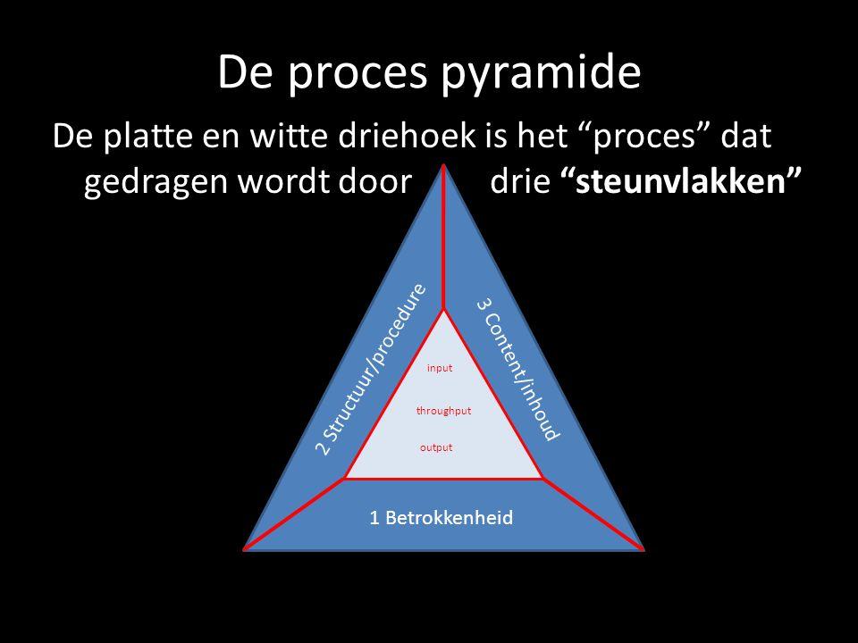 """De proces pyramide De platte en witte driehoek is het """"proces"""" dat gedragen wordt door drie """"steunvlakken"""" input throughput output 2 Structuur/procedu"""