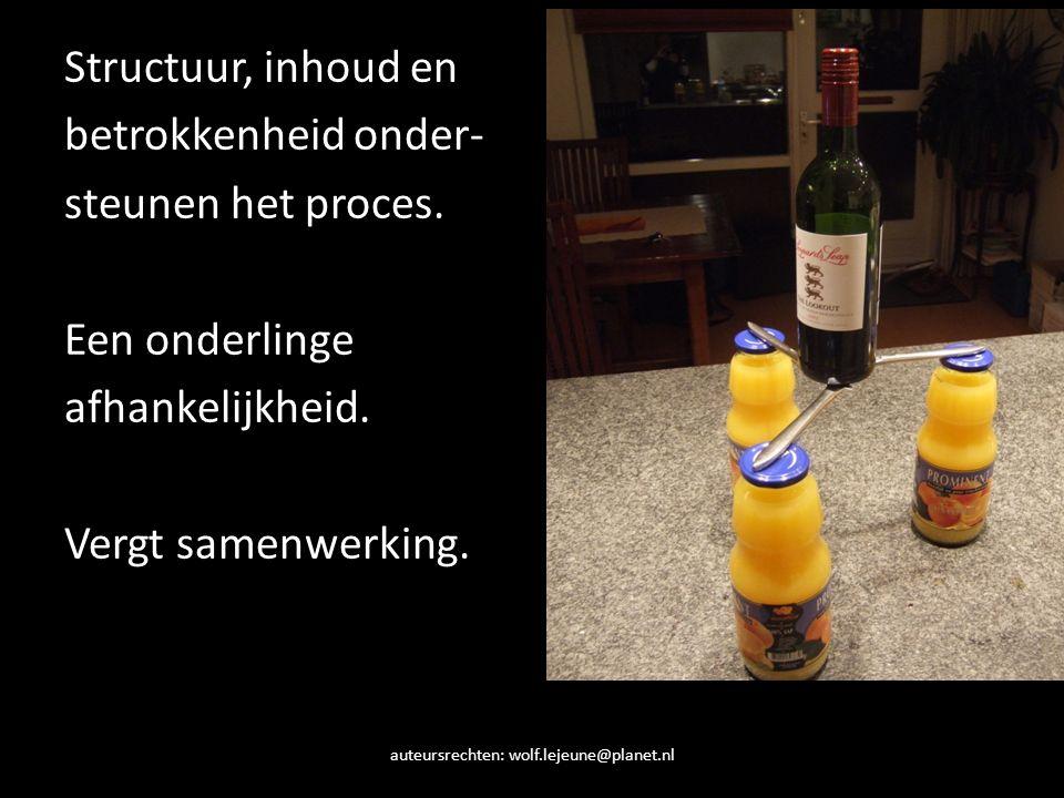 auteursrechten: wolf.lejeune@planet.nl Structuur, inhoud en betrokkenheid onder- steunen het proces. Een onderlinge afhankelijkheid. Vergt samenwerkin