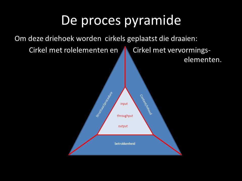 De proces pyramide Om deze driehoek worden cirkels geplaatst die draaien: Cirkel met rolelementen en Cirkel met vervormings- elementen. input throughp