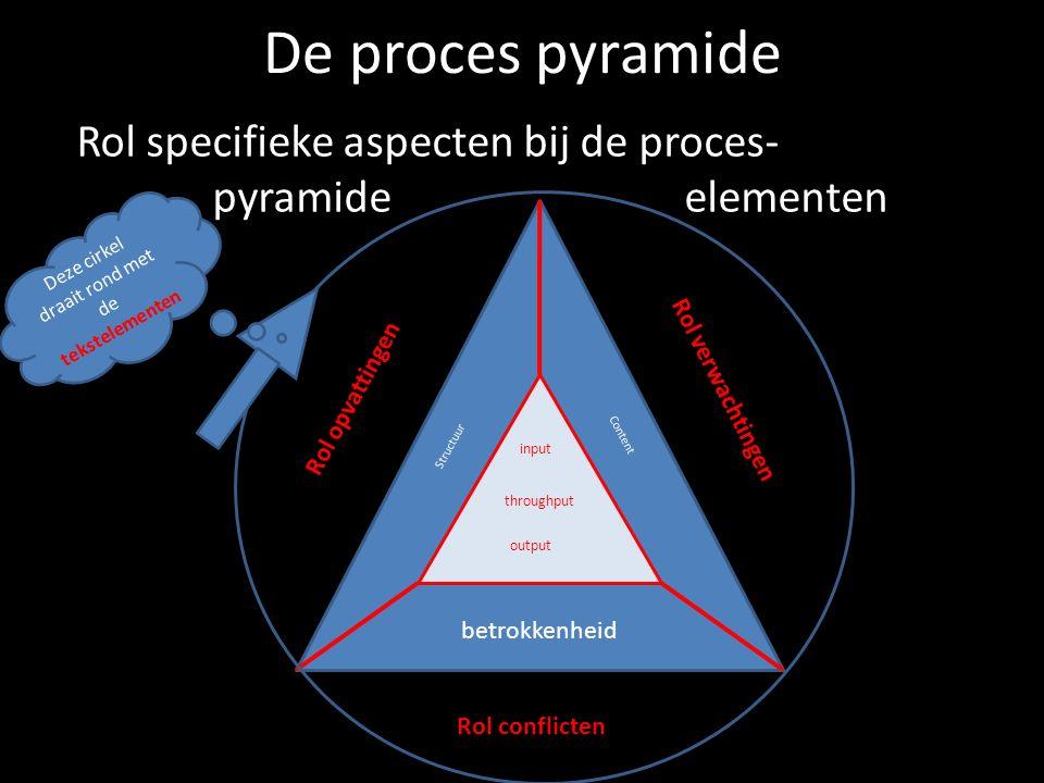 De proces pyramide Rol specifieke aspecten bij de proces- pyramide elementen input throughput output Structuur Content betrokkenheid Rol verwachtingen