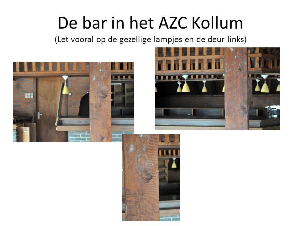 De bar in het AZC Kollum (Let vooral op de gezellige lampjes en de deur links)