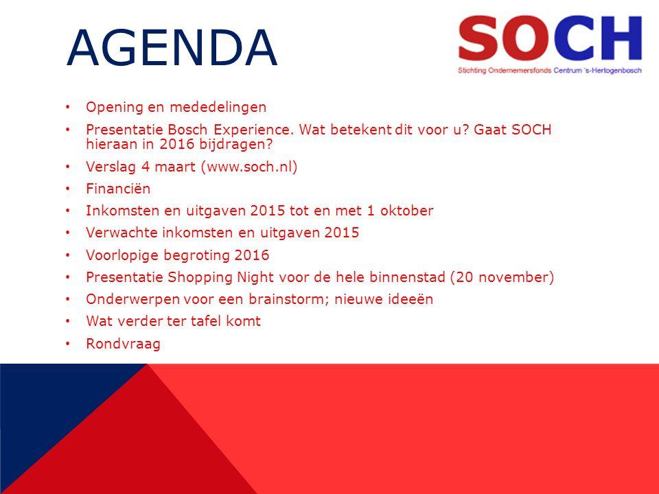 AGENDA Opening en mededelingen Presentatie Bosch Experience.