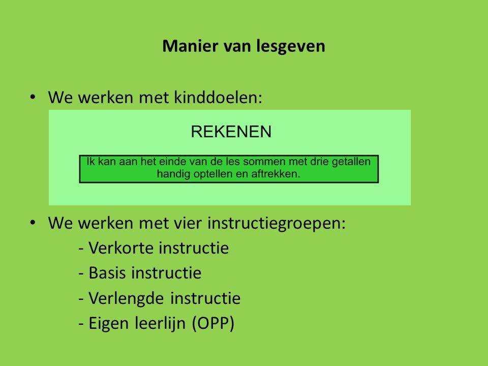Manier van lesgeven We werken met kinddoelen: We werken met vier instructiegroepen: - Verkorte instructie - Basis instructie - Verlengde instructie - Eigen leerlijn (OPP)