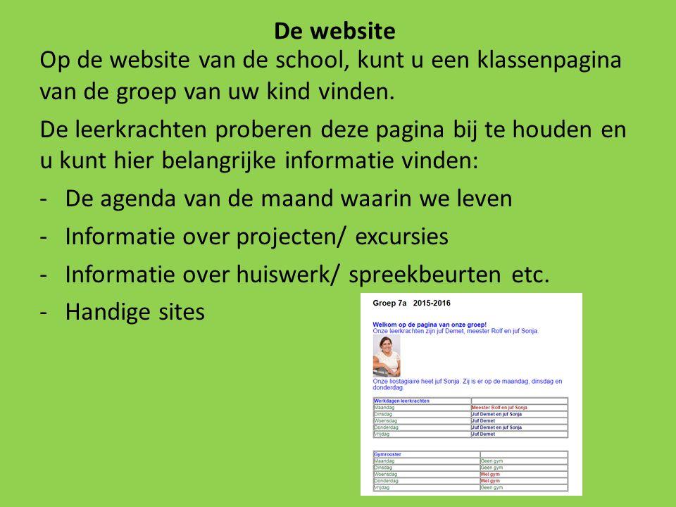 De website Op de website van de school, kunt u een klassenpagina van de groep van uw kind vinden.