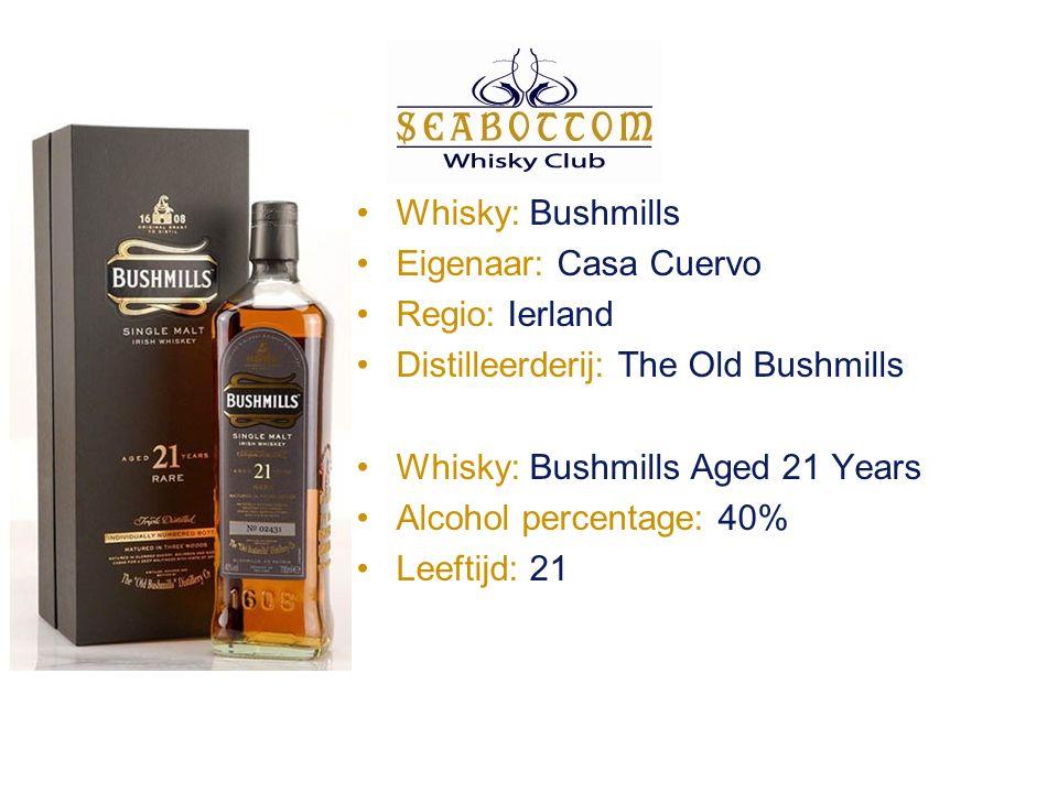 Whisky: Bushmills Eigenaar: Casa Cuervo Regio: Ierland Distilleerderij: The Old Bushmills Whisky: Bushmills Aged 21 Years Alcohol percentage: 40% Leeftijd: 21