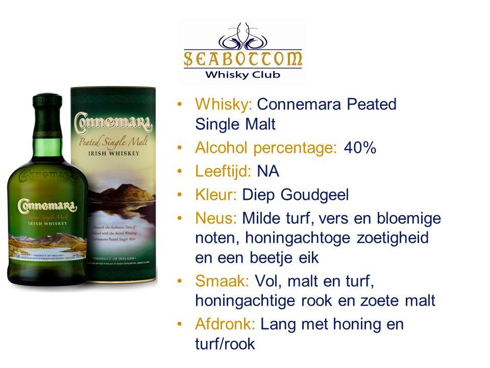 Whisky: Connemara Peated Single Malt Alcohol percentage: 40% Leeftijd: NA Kleur: Diep Goudgeel Neus: Milde turf, vers en bloemige noten, honingachtoge zoetigheid en een beetje eik Smaak: Vol, malt en turf, honingachtige rook en zoete malt Afdronk: Lang met honing en turf/rook