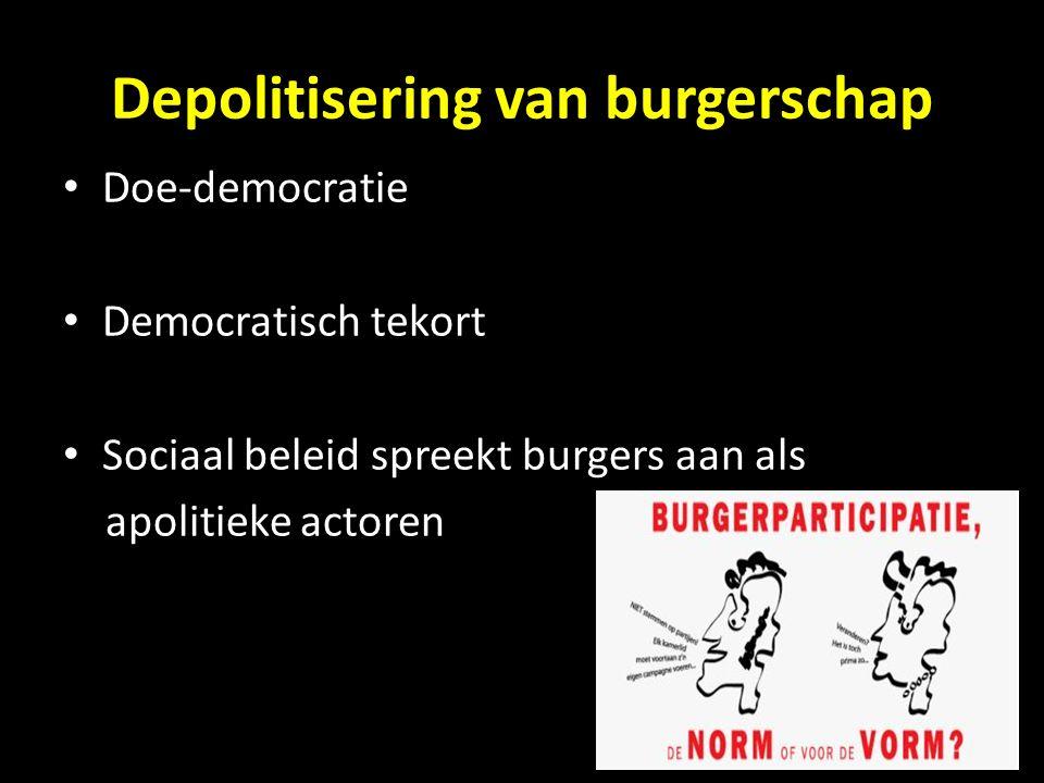 Depolitisering van burgerschap Doe-democratie Democratisch tekort Sociaal beleid spreekt burgers aan als apolitieke actoren