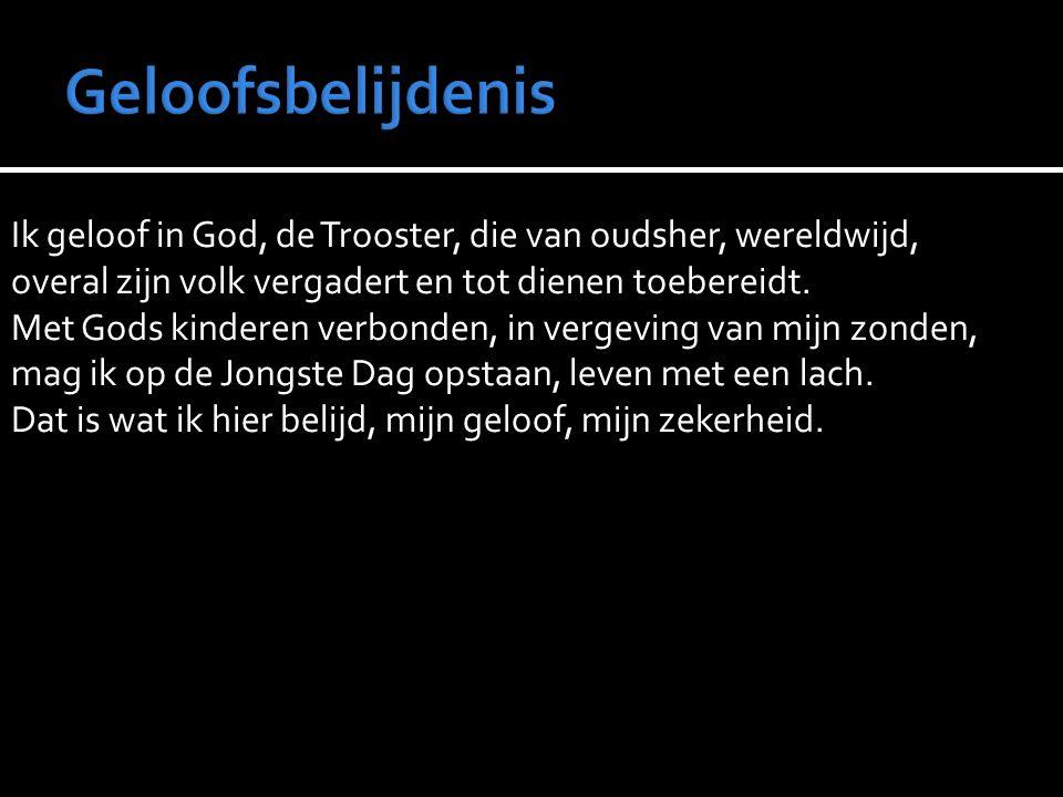 Ik geloof in God, de Trooster, die van oudsher, wereldwijd, overal zijn volk vergadert en tot dienen toebereidt.
