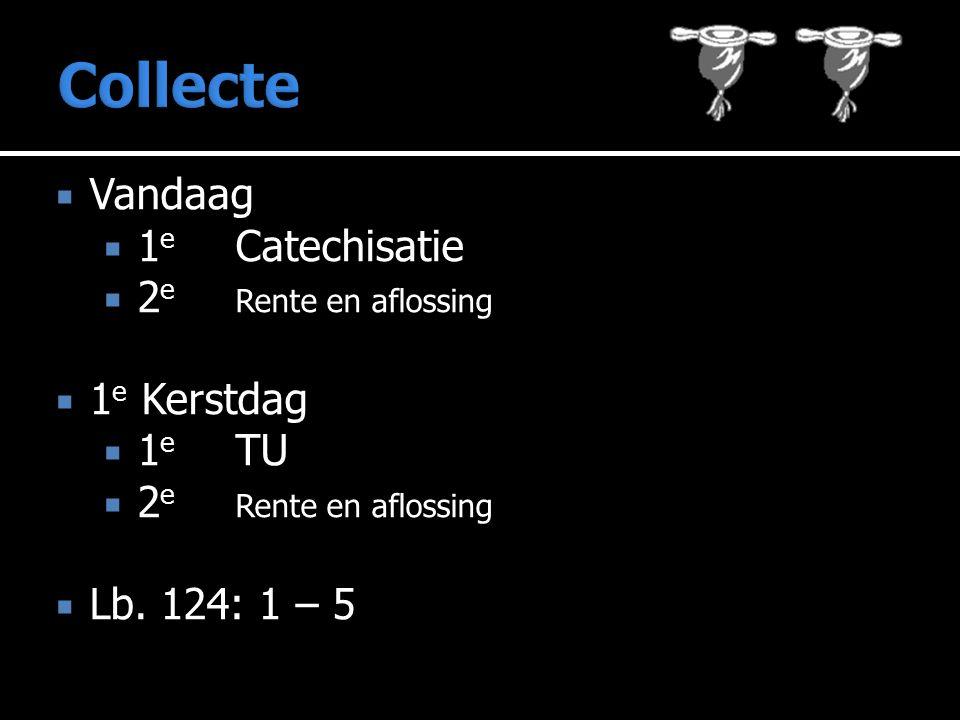  Vandaag  1 e Catechisatie  2 e Rente en aflossing  1 e Kerstdag  1 e TU  2 e Rente en aflossing  Lb.