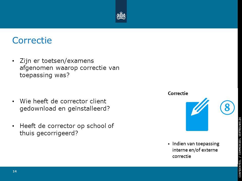 CONFIDENTEEL / COMMERCIEEL VERTROUWELIJK 14 Correctie Zijn er toetsen/examens afgenomen waarop correctie van toepassing was? Wie heeft de corrector cl