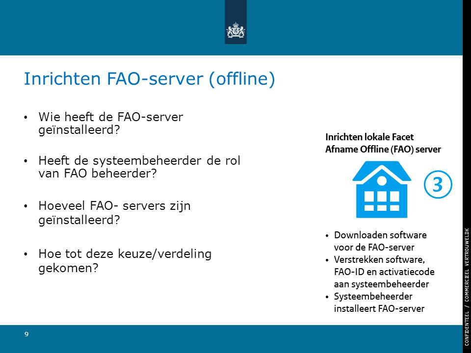 CONFIDENTEEL / COMMERCIEEL VERTROUWELIJK 9 Inrichten FAO-server (offline) Wie heeft de FAO-server geïnstalleerd? Heeft de systeembeheerder de rol van