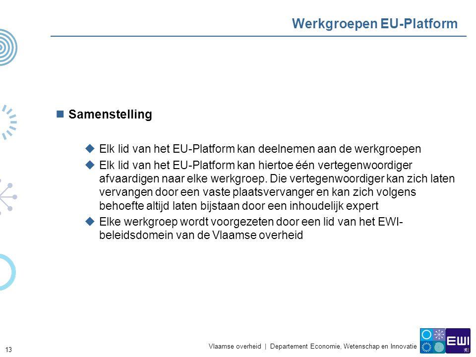 Vlaamse overheid | Departement Economie, Wetenschap en Innovatie 13 Werkgroepen EU-Platform Samenstelling  Elk lid van het EU-Platform kan deelnemen aan de werkgroepen  Elk lid van het EU-Platform kan hiertoe één vertegenwoordiger afvaardigen naar elke werkgroep.