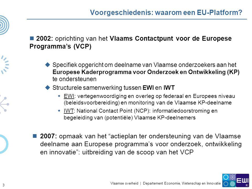 Vlaamse overheid | Departement Economie, Wetenschap en Innovatie 3 Voorgeschiedenis: waarom een EU-Platform.