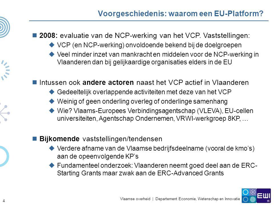 Vlaamse overheid | Departement Economie, Wetenschap en Innovatie 4 Voorgeschiedenis: waarom een EU-Platform.