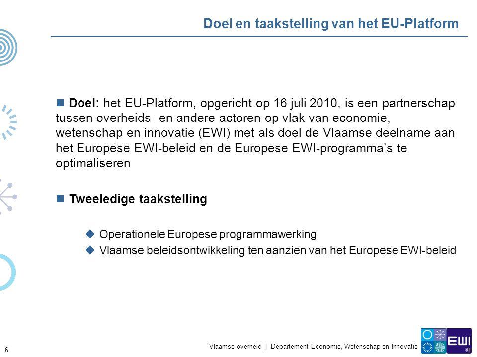 Vlaamse overheid | Departement Economie, Wetenschap en Innovatie 6 Doel en taakstelling van het EU-Platform Doel: het EU-Platform, opgericht op 16 juli 2010, is een partnerschap tussen overheids- en andere actoren op vlak van economie, wetenschap en innovatie (EWI) met als doel de Vlaamse deelname aan het Europese EWI-beleid en de Europese EWI-programma's te optimaliseren Tweeledige taakstelling  Operationele Europese programmawerking  Vlaamse beleidsontwikkeling ten aanzien van het Europese EWI-beleid