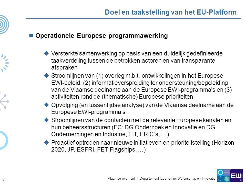 Vlaamse overheid | Departement Economie, Wetenschap en Innovatie 7 Doel en taakstelling van het EU-Platform Operationele Europese programmawerking  Versterkte samenwerking op basis van een duidelijk gedefinieerde taakverdeling tussen de betrokken actoren en van transparante afspraken  Stroomlijnen van (1) overleg m.b.t.