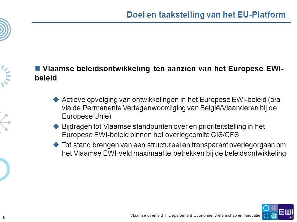 Vlaamse overheid | Departement Economie, Wetenschap en Innovatie 8 Doel en taakstelling van het EU-Platform Vlaamse beleidsontwikkeling ten aanzien van het Europese EWI- beleid  Actieve opvolging van ontwikkelingen in het Europese EWI-beleid (o/a via de Permanente Vertegenwoordiging van België/Vlaanderen bij de Europese Unie)  Bijdragen tot Vlaamse standpunten over en prioriteitstelling in het Europese EWI-beleid binnen het overlegcomité CIS/CFS  Tot stand brengen van een structureel en transparant overlegorgaan om het Vlaamse EWI-veld maximaal te betrekken bij de beleidsontwikkeling