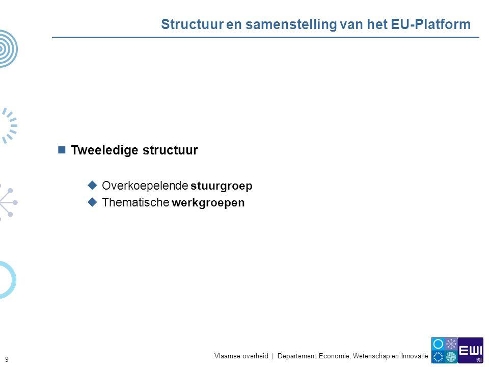 Vlaamse overheid | Departement Economie, Wetenschap en Innovatie 9 Structuur en samenstelling van het EU-Platform Tweeledige structuur  Overkoepelende stuurgroep  Thematische werkgroepen