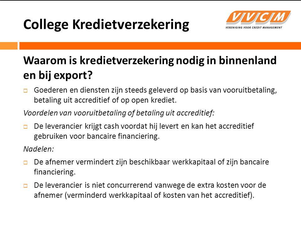 College Kredietverzekering Waarom is kredietverzekering nodig in binnenland en bij export.